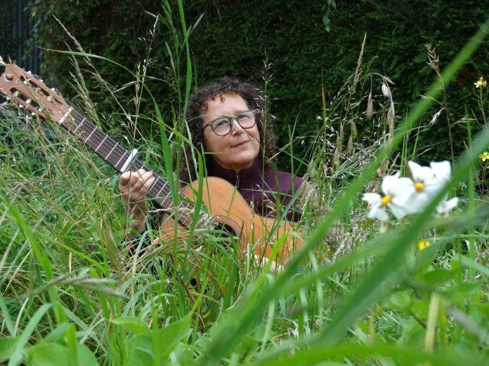 Bridget Ellis in her garden